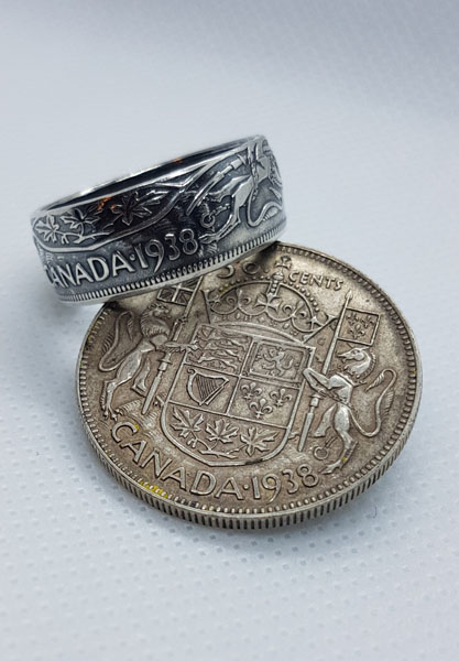 1938 Canadian 50 cent coin ring, product handmade in Nanoose Bay, B.C., Canada, on Vancouver Island by A Welcome Change