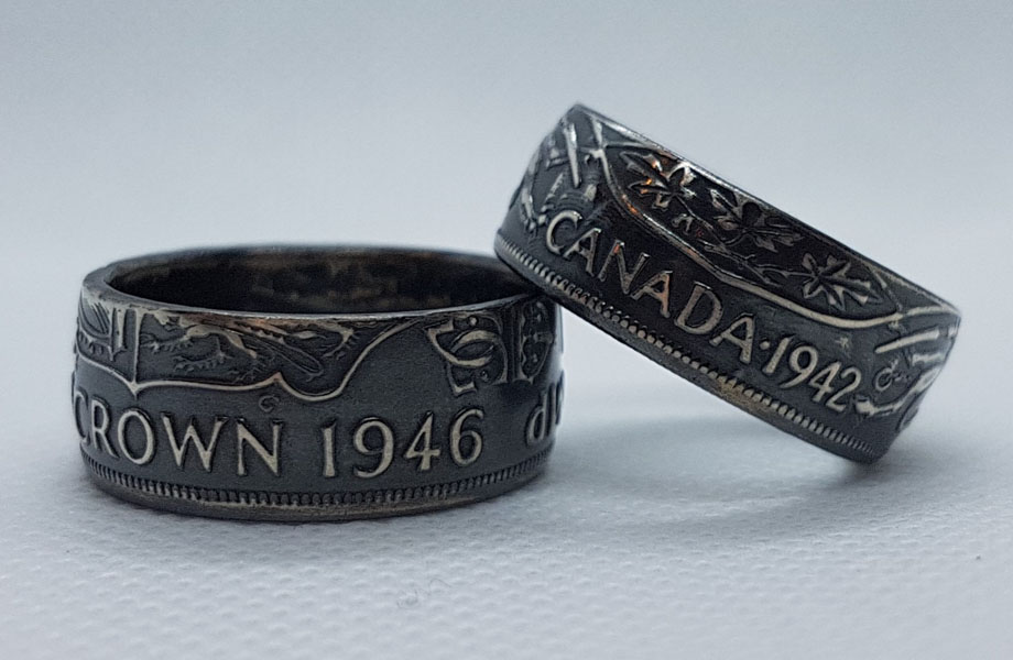 1946 and 1942 Canadian coin rings