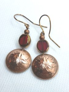 1965 Canadian penny earrings, product handmade in Nanoose Bay, B.C., Canada, on Vancouver Island by A Welcome Change