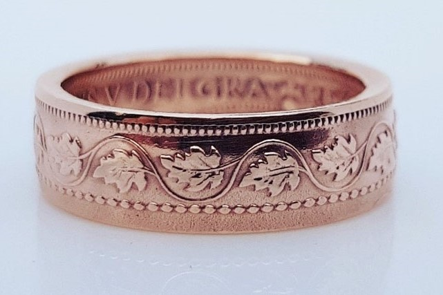 Canadian penny coin ring, handmade on Vancouver Island