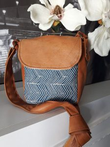 Brown upcycled leather handbag, handmade on Vancouver Island by A.D.E Designs