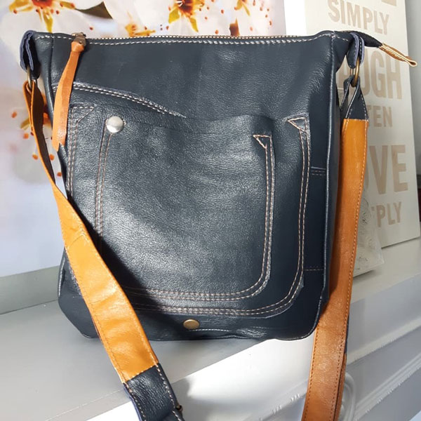 Black and brown upcycled leather one of a kind handbag, handmade on Vancouver Island by A.D.E Designs
