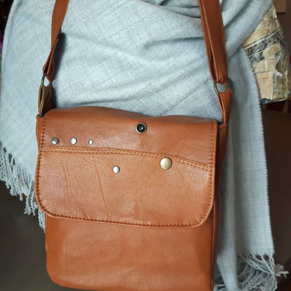 Brown upcycled Vancouver Island made leather handbag by A.D.E. Designs