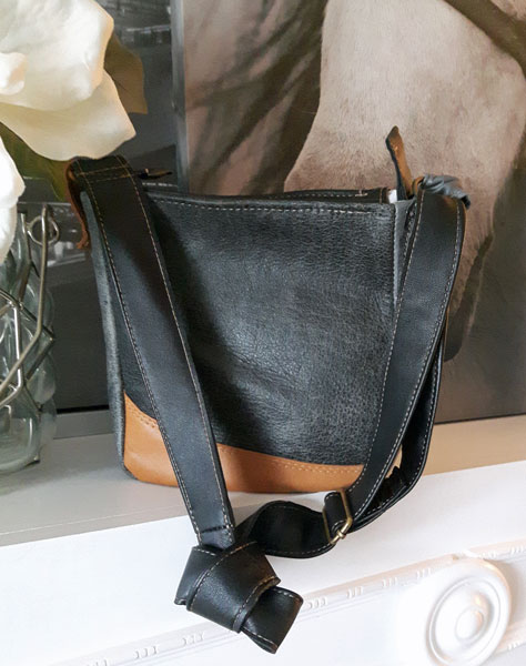 Brown and black upcycled Vancouver Island made leather handbag by A.D.E. Designs