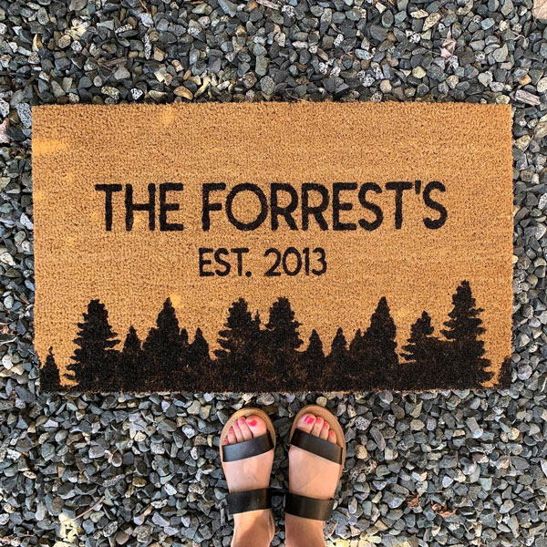 Custom doormat with family name made on Vancouver Island in Nanaimo Canada