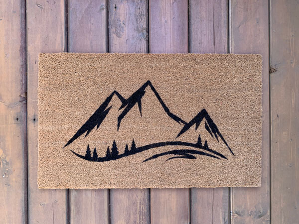 mountainscape doormat made in Nanaimo Canada on Vancouver Island by AspenBlueCo