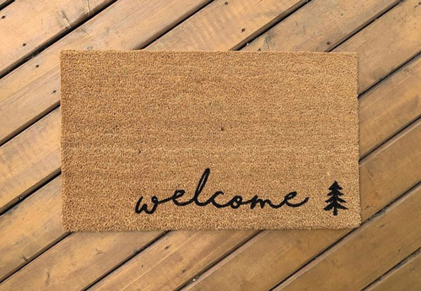 """Welcome"" heavy duty doormat made in Nanaimo Canada on Vancouver Island by AspenBlueCo"