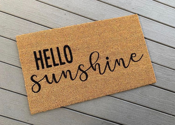 hello sunshine doormat made in Nanaimo Canada on Vancouver Island by AspenBlueCo