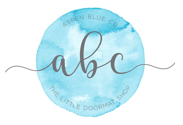 AspenBlueCo logo, custom and stock fun and funny doormats made in Nanaimo B.C. Canada on Vancouver Island