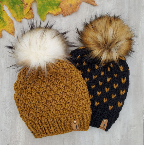 mustard yellow pom pom knit toques, made in Courtenay BC by Back 40 Design
