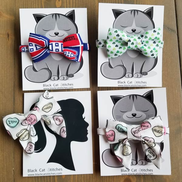 Cat bow ties in Canadians print, Clover print, Heart print, made on Vancouver Island by Black Cat Stitches