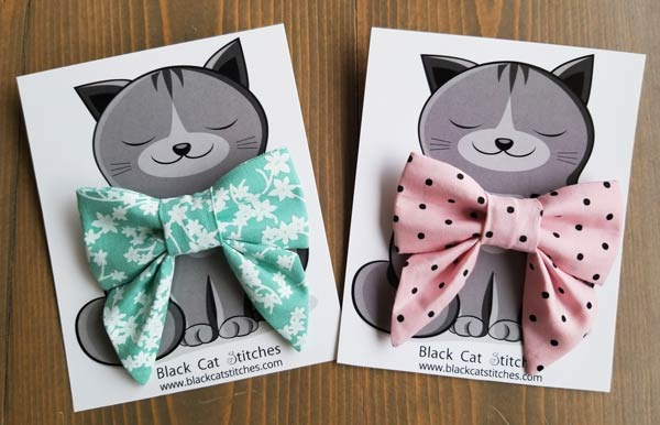 cat bow ties, flower print and pink with black dots, Vancouver Island made product by Black Cat Stitches