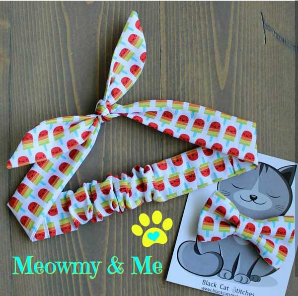 matching human headband and pet bowtie in popsicle fabric, Island handmade product by Black Cat Stitches
