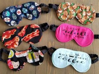 6 sleep masks in hockey, bacon, cat, football fabrics, Island handmade products by Black Cat Stitches