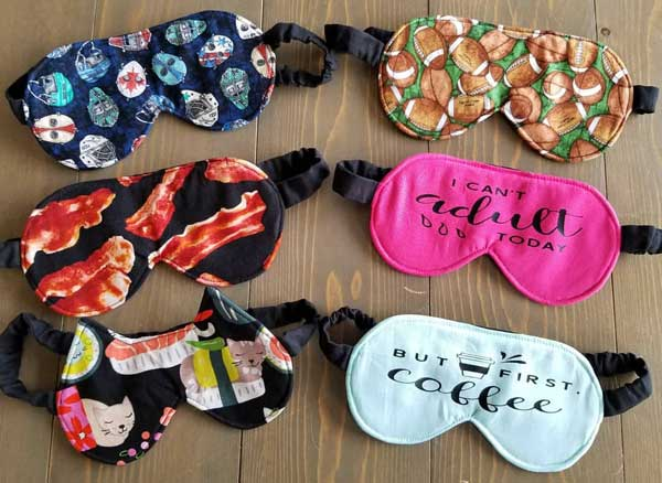 6 sleep masks in hockey, bacon, cat, football fabrics, Island handmade products by Black Cat Stitches
