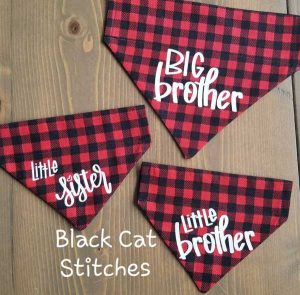 3 plaid pet bandanas saying Little Sister, Little Brother, Big Brother, Vancouver Island products by Black Cat Stitches