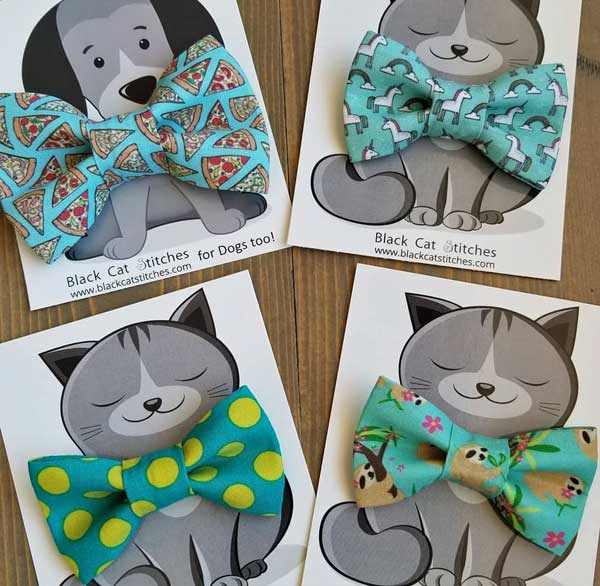 Cat and dog bowties in pizza, unicorn, polka dot, and sloth fabrics Vancouver Island made by Black Cat Stitches