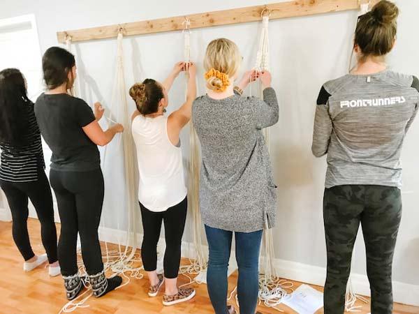 women in macrame workshop in Nanoose Bay on Vancouver Island, Blackbird Creative