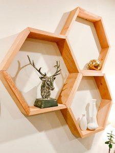 geometric hexagonal shelf, woodworking done by Blackbird Creative in Nanoose Bay on Vancouver Island