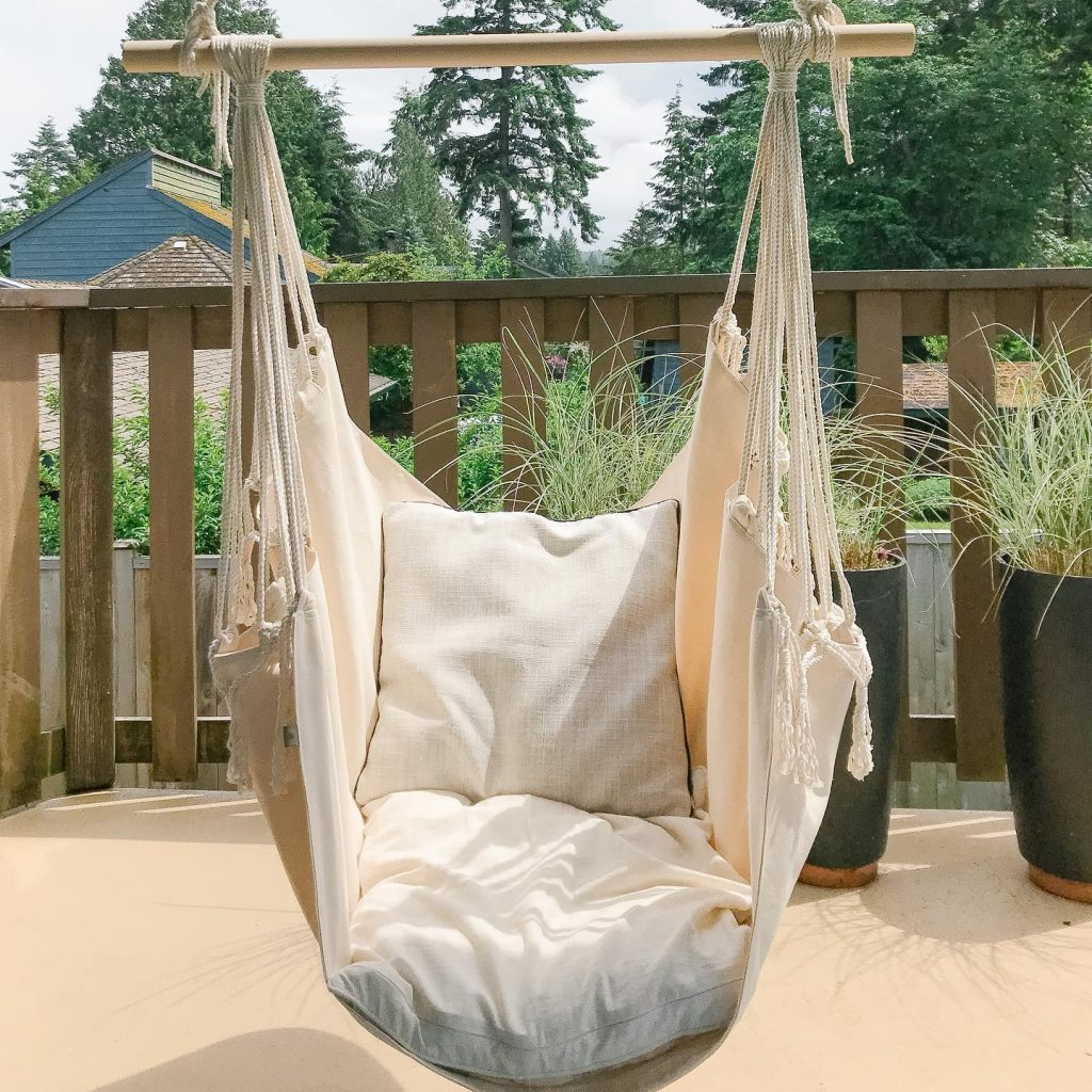 locally made macrame chair hammock, made on Vancouver Island by Blackbird Creative