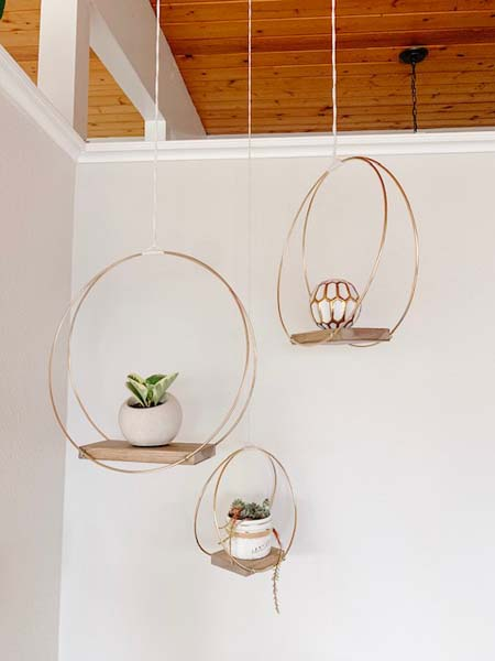 hanging brass and wood shelves, handmade on Vancouver Island by Blackbird Creative