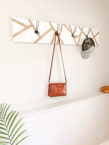 geometric coat hanger, handmade on Vancouver Island by Blackbird Creative