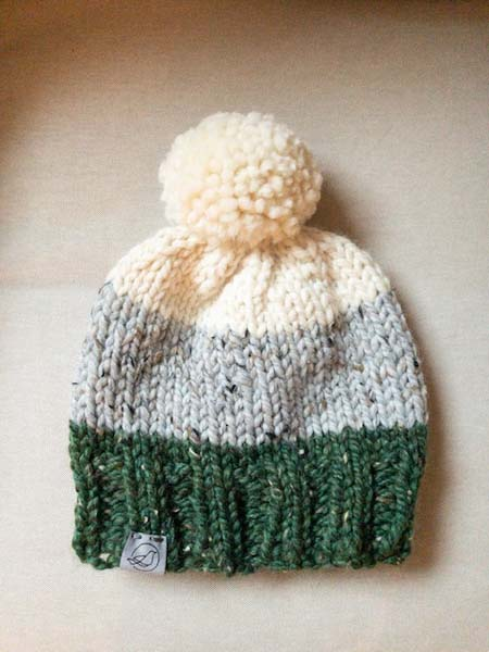 Knit green, grey, and cream touque by Blackbird Creative on Vancouver Island, Nanoose Bay