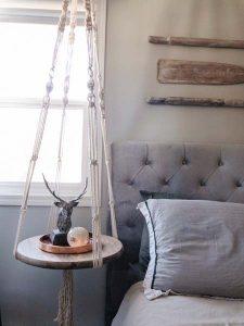 Macrame hanging side table, handmade on Vancouver Island by Blackbird Creative