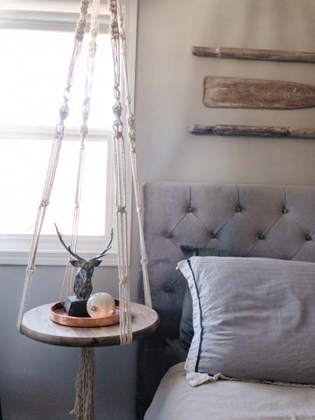 Macrame hanging side table, handmade on Vancouver Island by Blackbird Creative