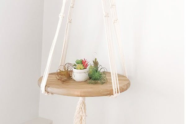 hanging macrame and wood shelf, made in Nanoose Bay by Blackbird Creative