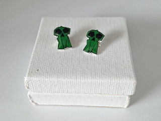 skull or creeper earrings made by Bleeding Red Paint logo, artist from Nanaimo BC Vancouver Island