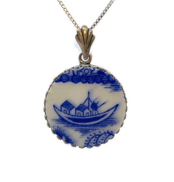 custom upcycled china jewelry made in Canada on Vancouver Island