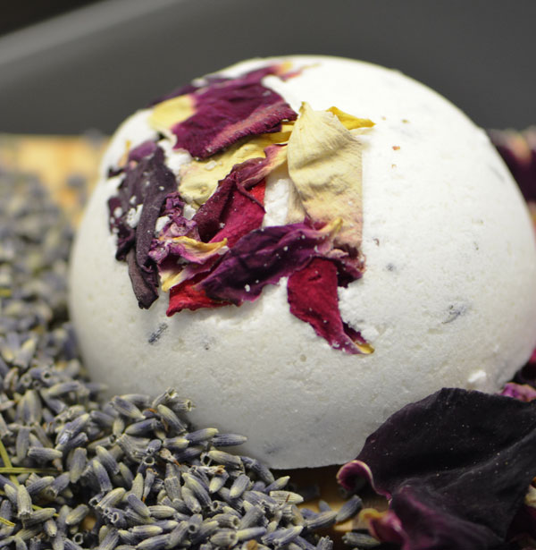 Natural bath bomb with flowers, handmade in Ladysmith on Vancouver Island