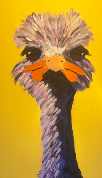 Ostrich painting, by Vancouver Island artist Lindsay Ford (Bread and Clutter)