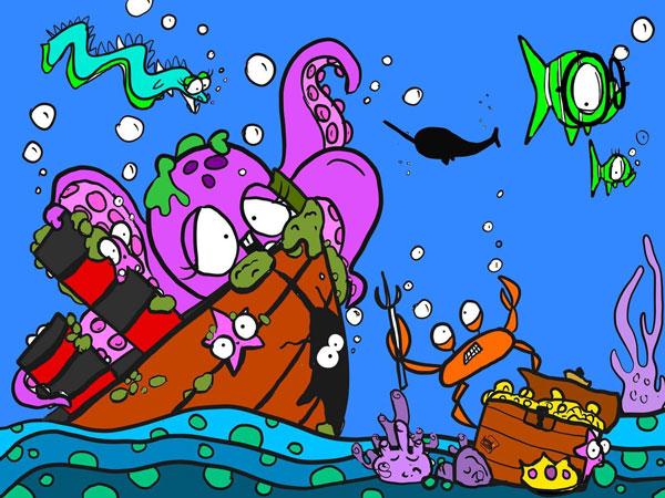 underwater mural sketch by kid's mural painter on Vancouver Island, Lindsay Ford
