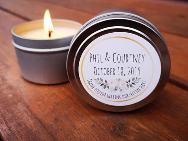 Vancouver Island wedding favor ideas, personlized candles from Island Wick Candle