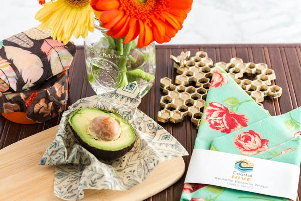 reusable saran wrap alternative, beeswax wraps made on Vancouver Island by Coastal Hive