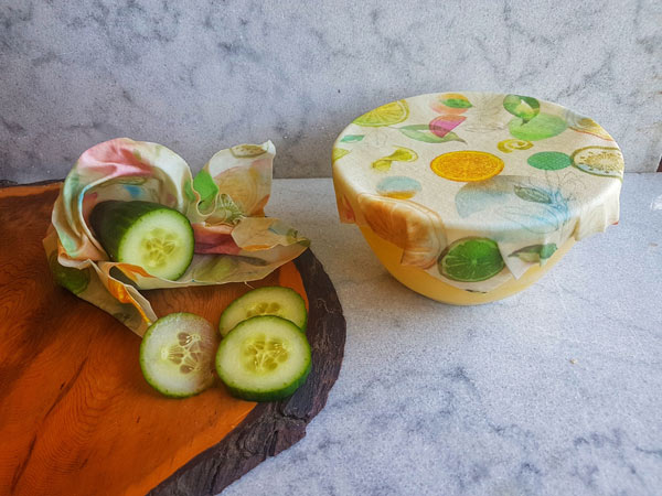 beeswax wraps preserving cucumber, alternative to saran wrap, made by Coastal Hive in Courtenay