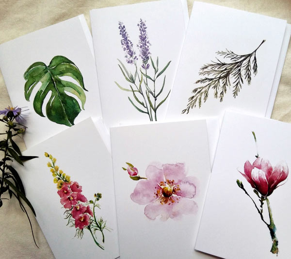 variety of flowers and botanicals painted by Cowichan Bay artist Coral Barclay