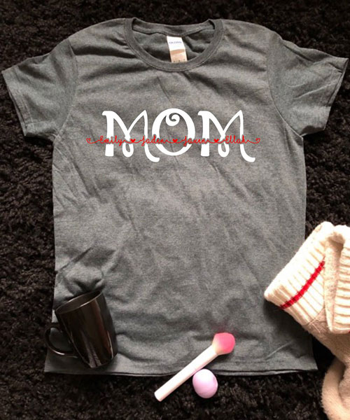 customized mom shirt with children's names, handmade on Vancouver Island by Crafty Island Owl