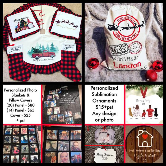 "Personalized custom ornaments, Santa sacks, Stockings, Tree Skirts, ""Elf"" puzzles made on Vancouver Island"