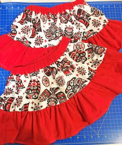 First nation's printed skirt, made on Southern Vancouver Island by Creative Hands