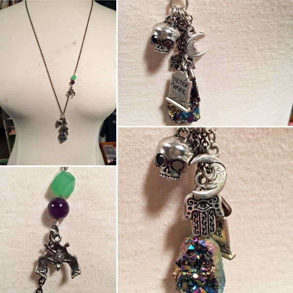 necklace pendant with skulls, crystals, moon handmade on Vancouver Island by Dead Ringer