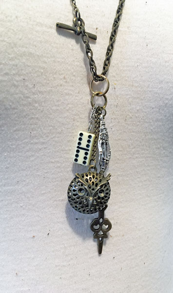 upcycled dice owl necklace made on vancouver island