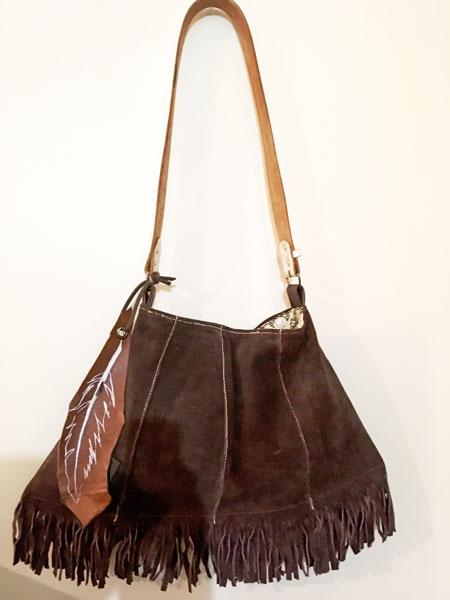upcycled leather fringe purse made on vancouver island