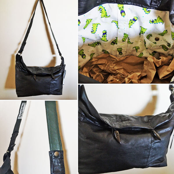 upcycled leather purse with dinosaur fun print inside, made on vancouver island