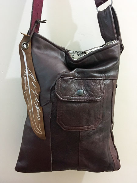 reclaimed leather purses hand made on Vancouver Island by Dead Ringer Purses sewing
