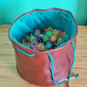 pink and blue leather marble bag made on Vancouver Island by Dead Ringer purses