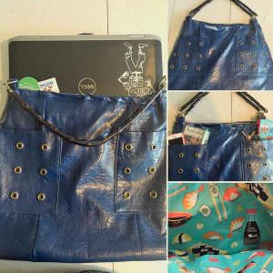 reclaimed blue leather handbag with sushi fabric made on Vancouver Island in Nanaimo by Dead Ringer Purses sewing