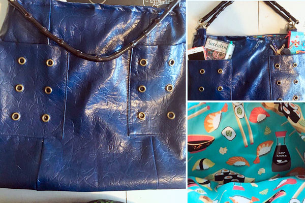 reclaimed leather purses with sushi fabric inside handmade on Vancouver Island by Dead Ringer Purses sewing
